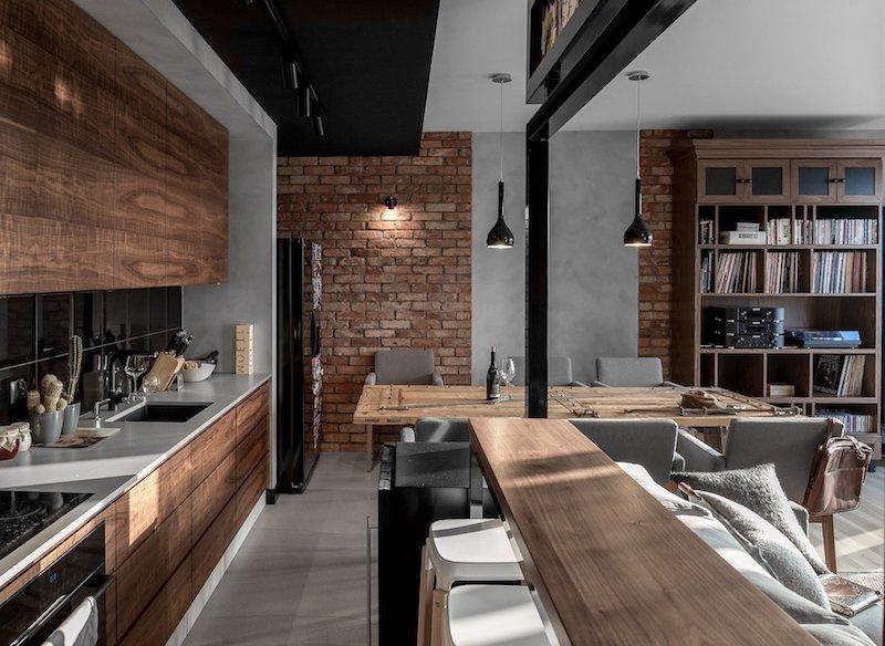 cuisine en noir et bois credence mur en tuiles marron
