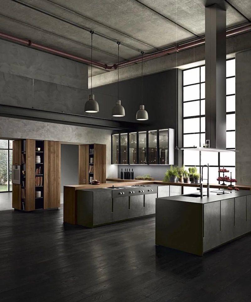 cuisine gris anthracite mat et bois murs gris plancher gris anthracite