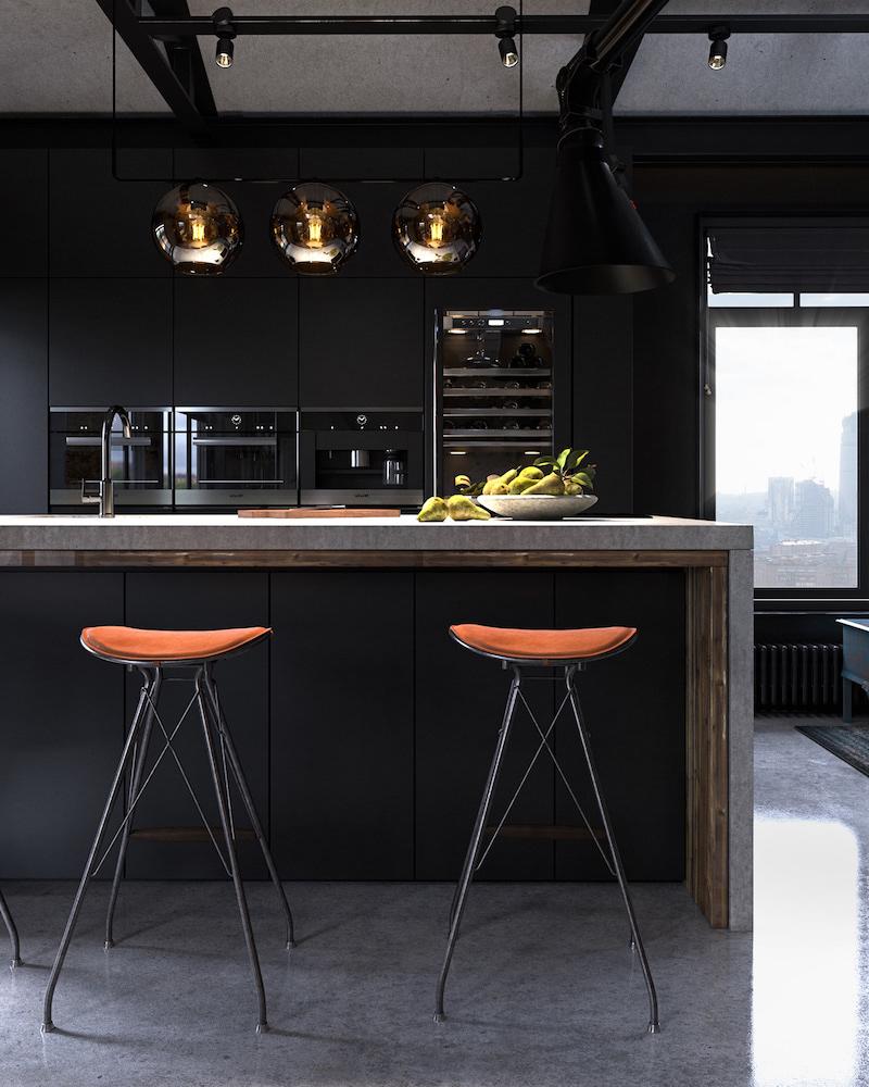 cuisine indistrielle ikea en noir avec chaises en métal et cuir