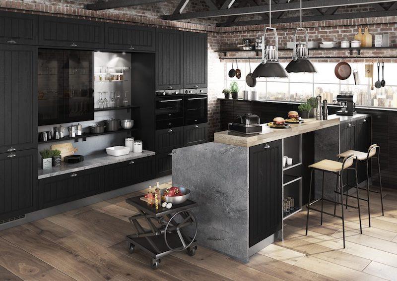 cuisine industrielle noir et bois et gris avec ilot chaises en métal et bois