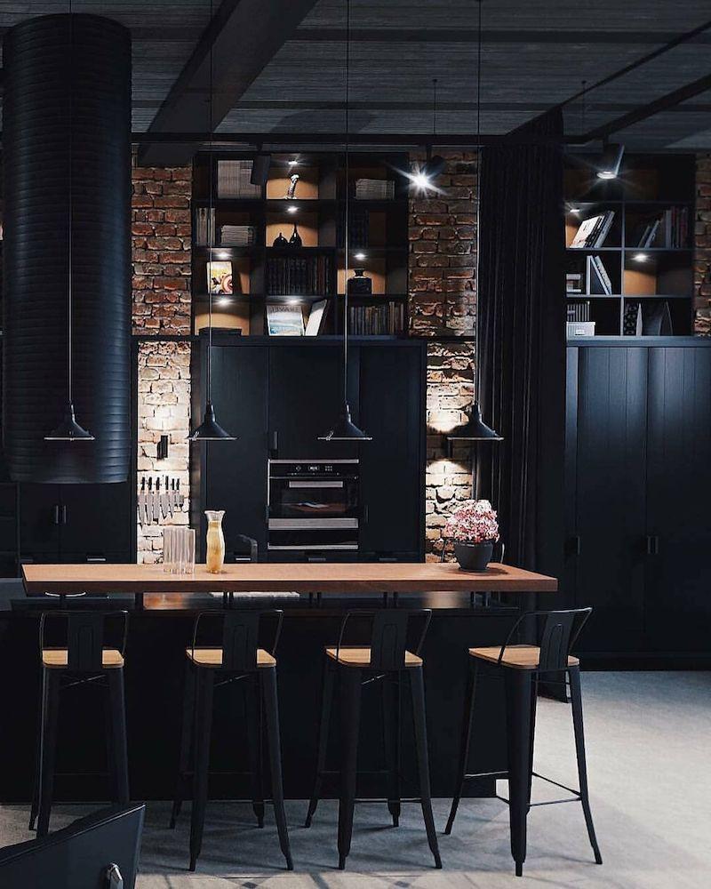 cuisine style industriel en noir et bois chaises en métal noir