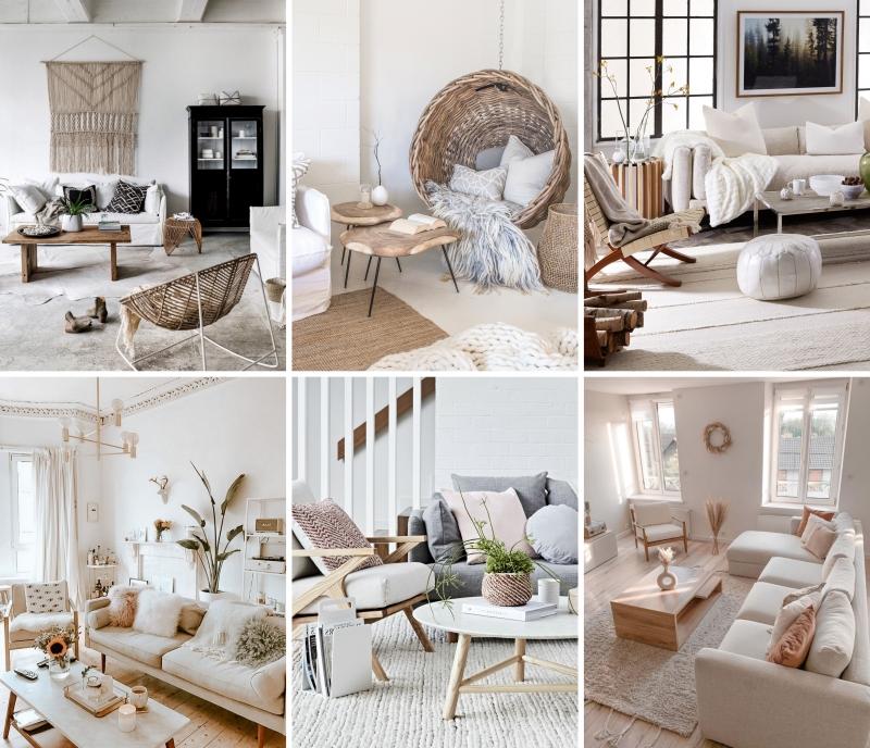 déco cocooning naturel salon blanc parquet bois blanc meubles table basse bois