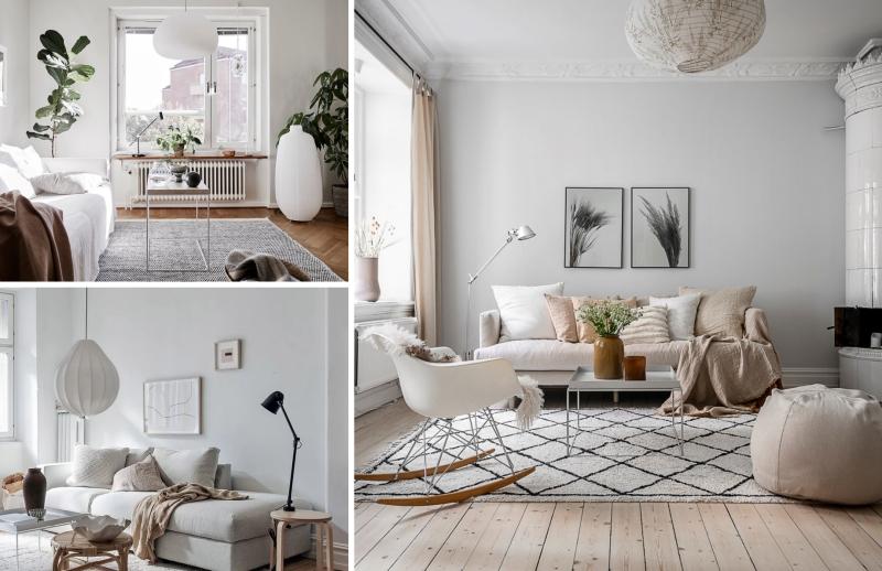 déco salon scandinave meubles en bois coussins gris plantes vertes d intérieur