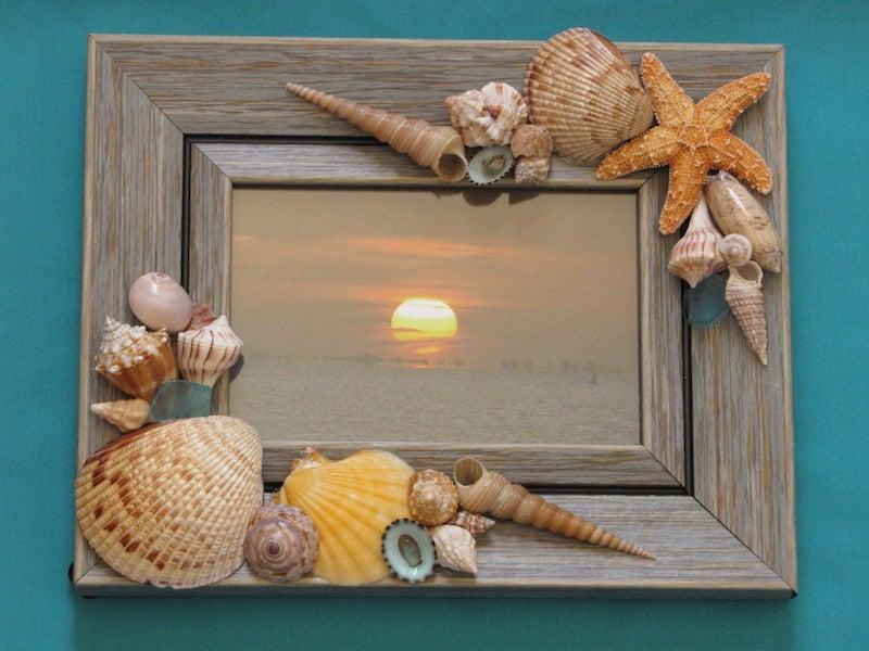 deco bord de mer coquillage sur cadre de photo
