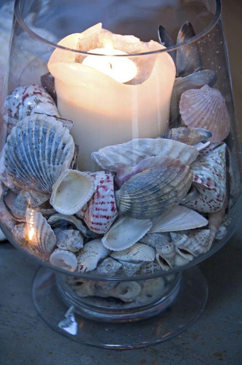 deco bord de mer vase avec bougies rempli de coquillages