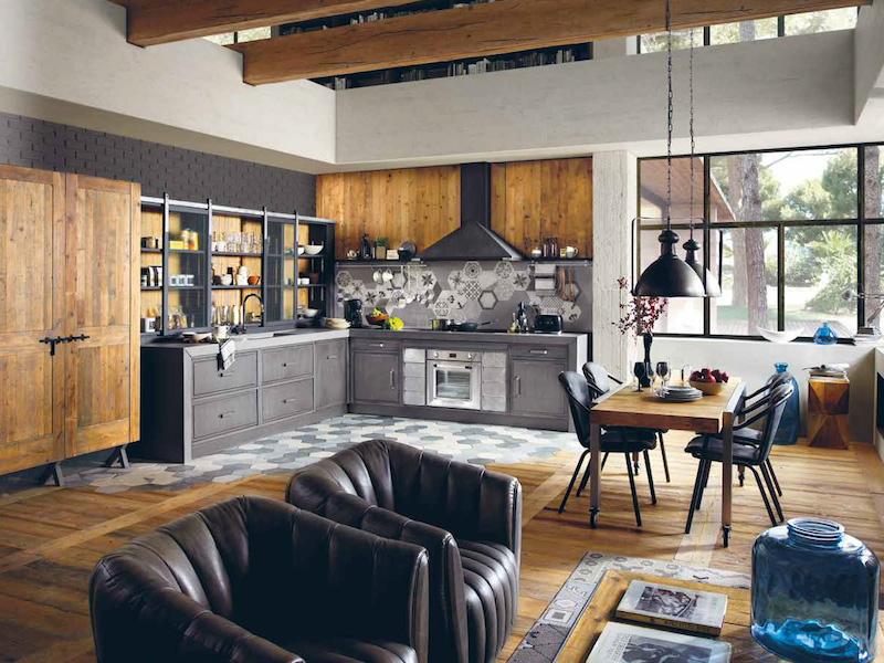 deco cuisine industrielle en gris et bois fauteuils en cuir