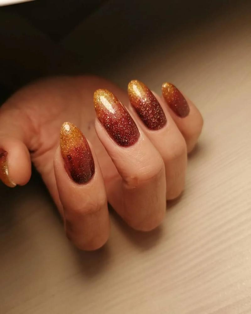 deco ongle automne ongles en style gradient ornage et jaune