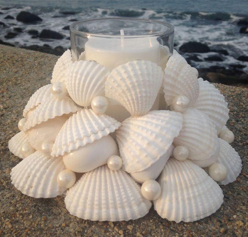 deco plage bougie avec bord de coquillages