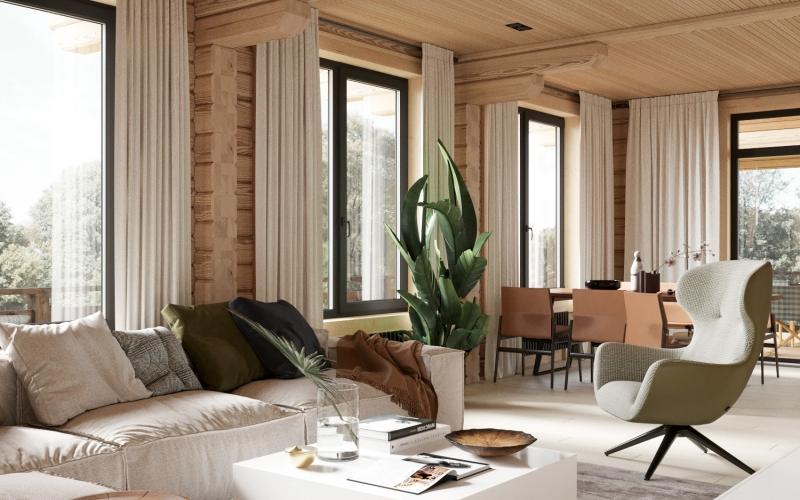 design contemporain salon cosy rideaux fenêtres revetement mural bois