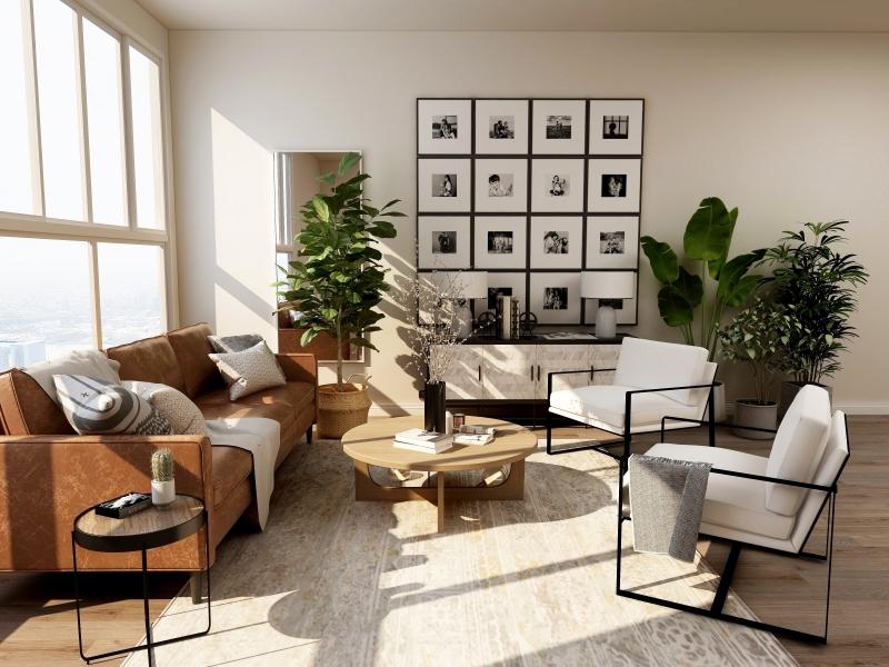 design intérieur fenêtre lumière soleil canapé en cuir marron