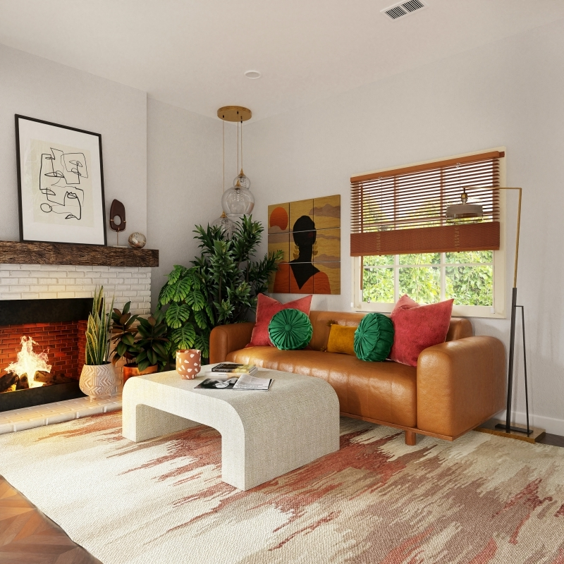 design salon art mural cheminée briques table moderne blanche