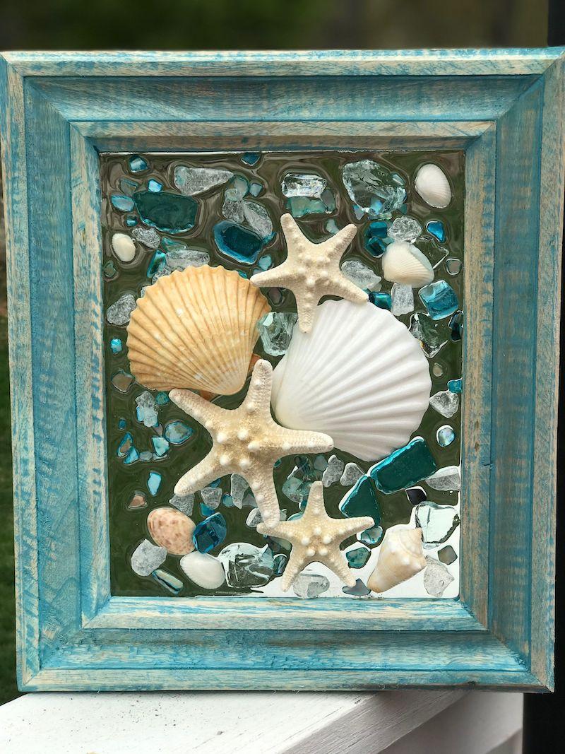 faire un tableau avec des coquillage cadre en turquoise