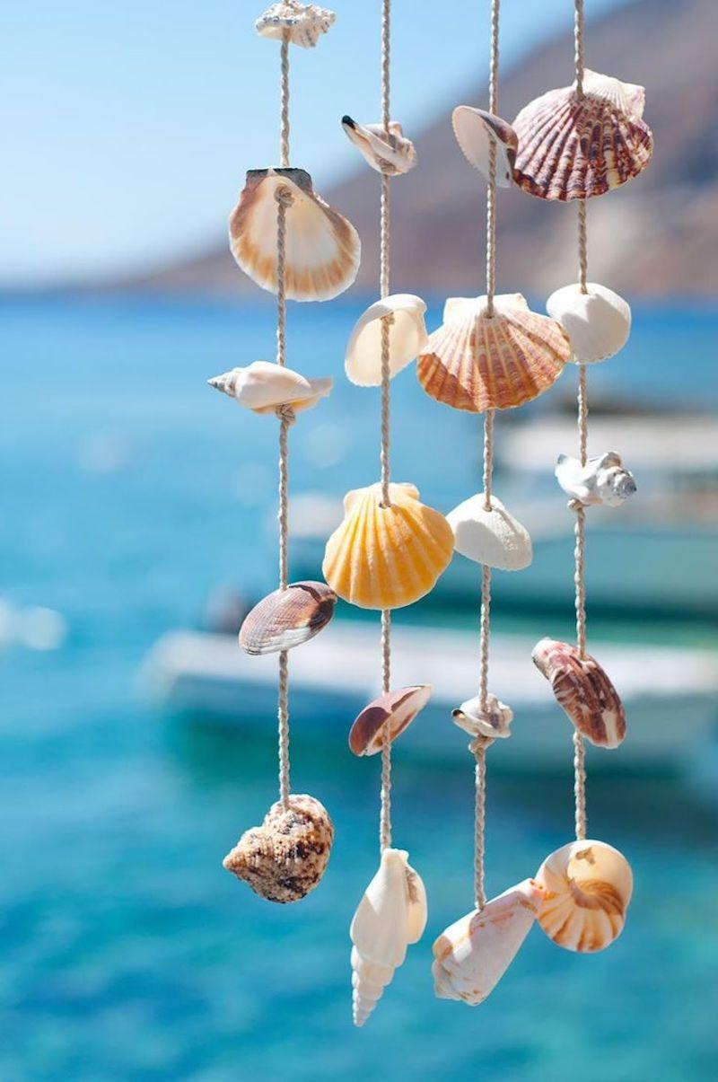 idées réalisation avec des coquillages suspension thème de mer