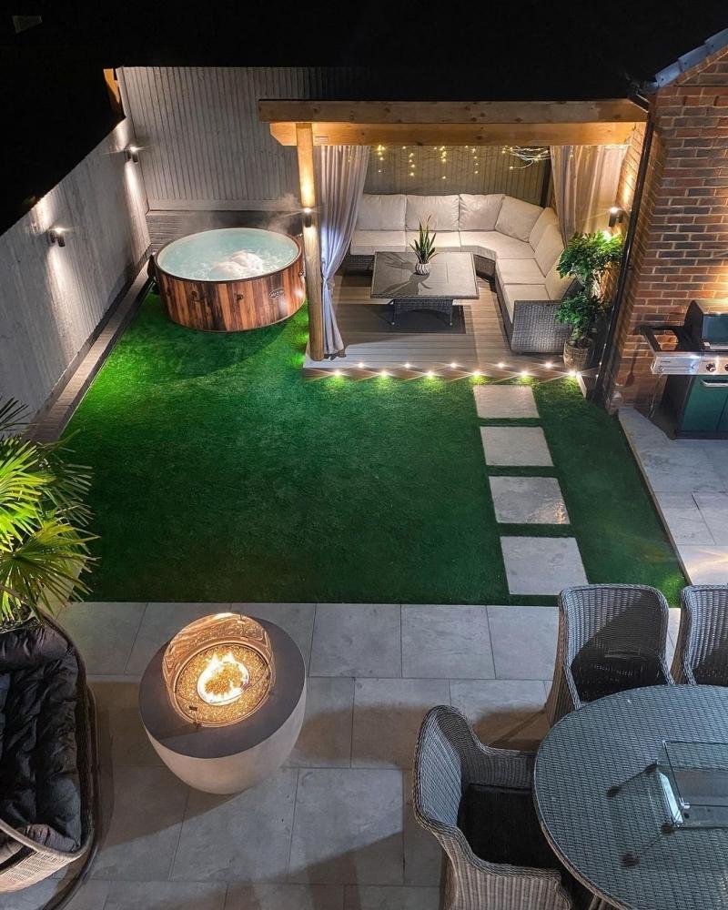 jacuzzi jardin design extérieur pergola canapé d angle feu extérieur