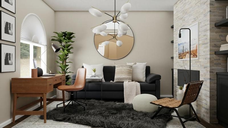miroir rond tapis moelleux noir bureau bois cadre photo blanc et noir