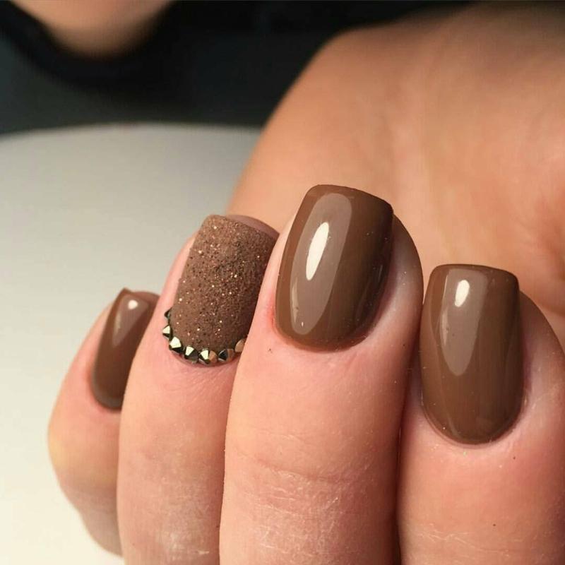 nail art marron ongles en couleurs de chocolat chaud