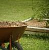 paillage de jardin une brouette pleine de paillage dans le jardin