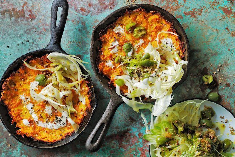 patate douce cuisson rapide à la poêle avec des légumes
