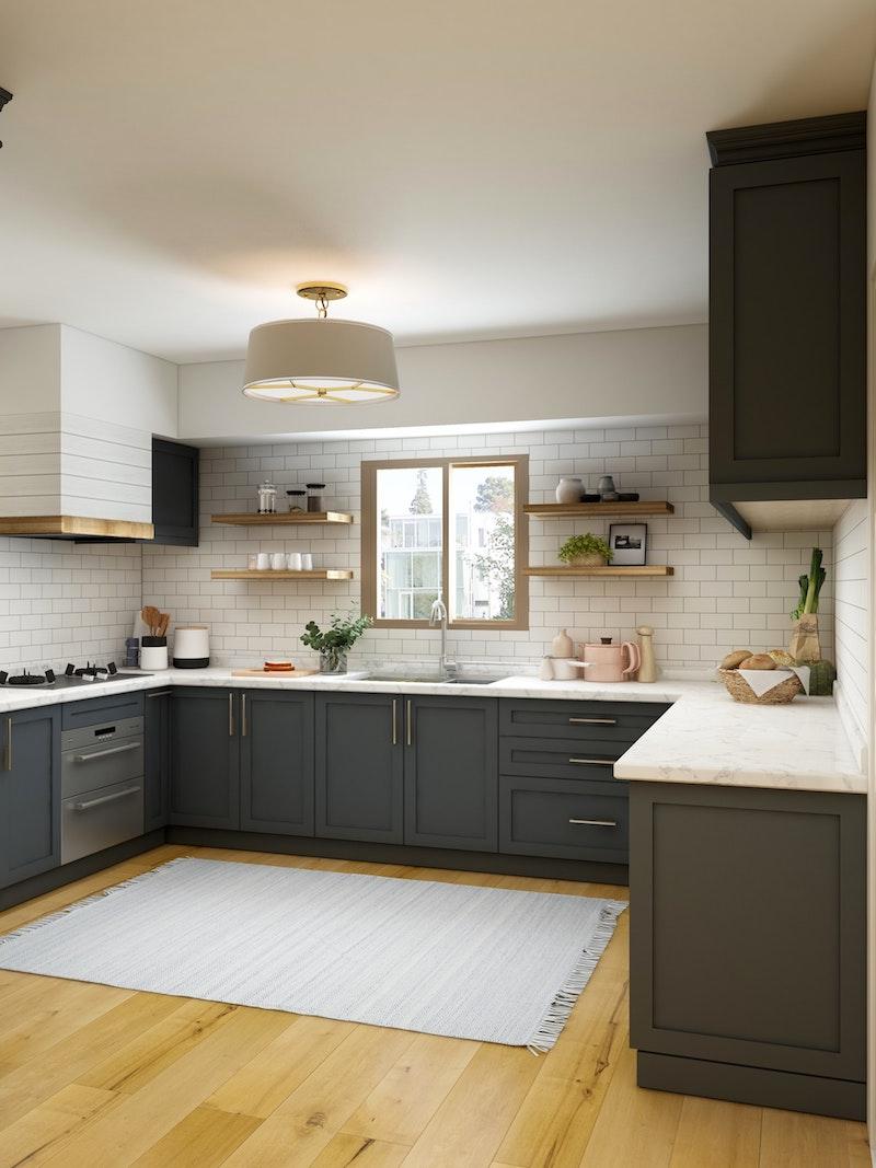 plafonnier cuisine original dans cuisine bois et blanc etagrres ouvertes carrelage blanc