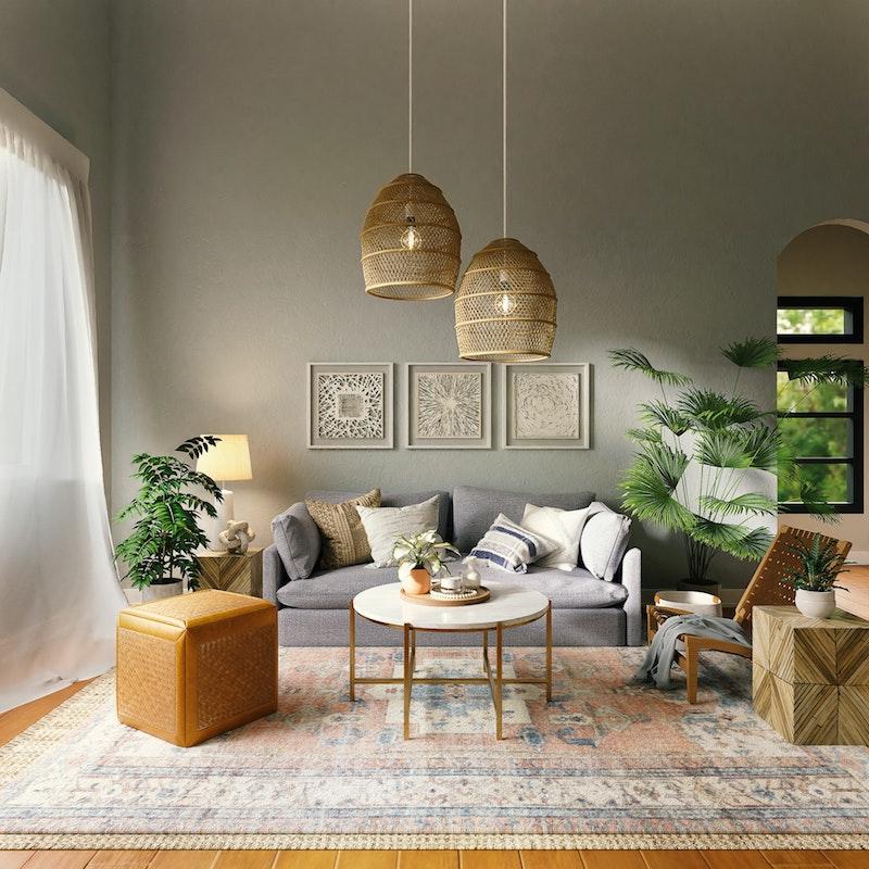 plafonnier style boheme chic idee deco salon gris plantes vertes accents orientaux