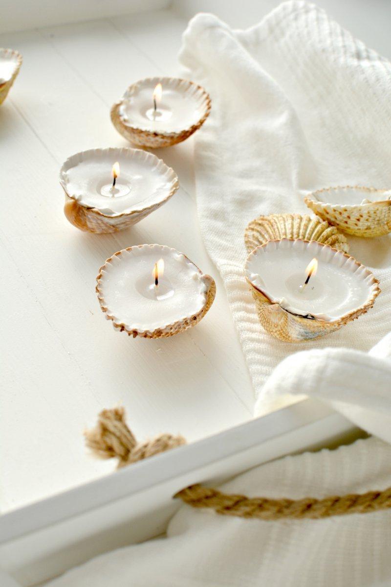 que faire avec des coquillages créer des bougies à thé avec coque en coquillages