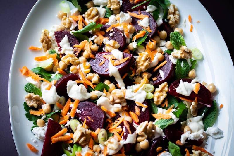 recette salade de pois chiche avec betterave noix et carottes