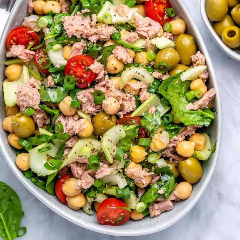 recette salade de pois chiche avec du thon olives tomates