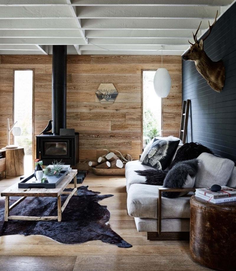 revetement mural bois poele a bois salon chaleureux et accueillant tapis peau animale
