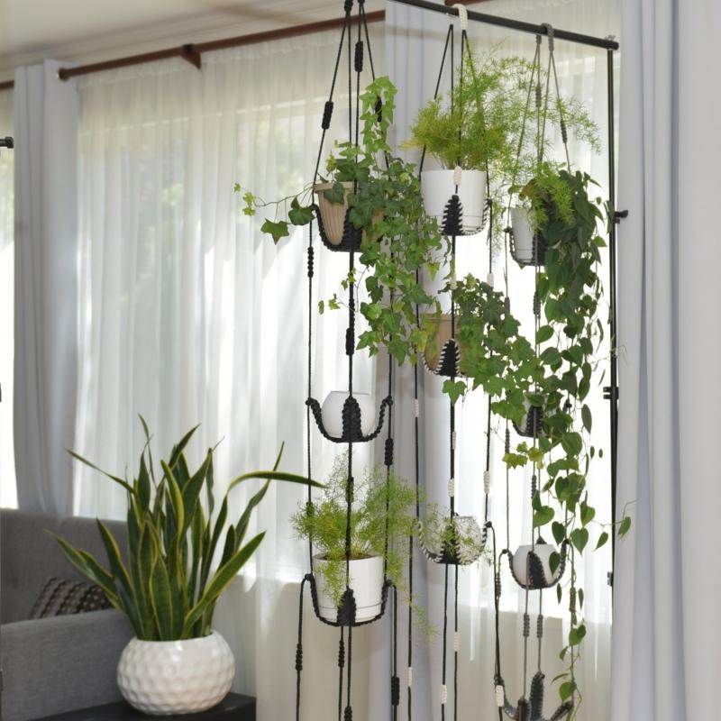 rideaux blancs salon canapé gris plante interieur retombante suspension corde