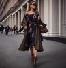 robes de soirée chic et classe aux épaules dénudées manteau olive bottines marron