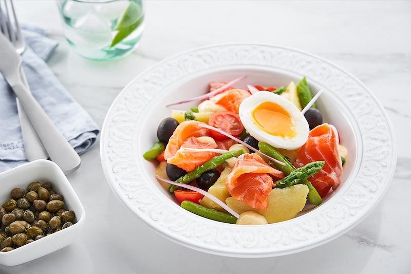 salade composée facile et originale de saumon haricots verts oeuf