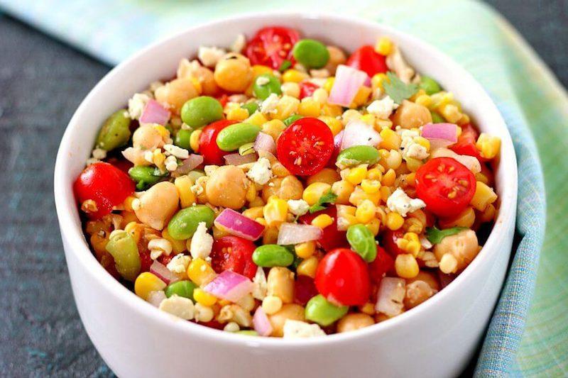 salade pois chiche tomate tomates maïs fèves d édamame