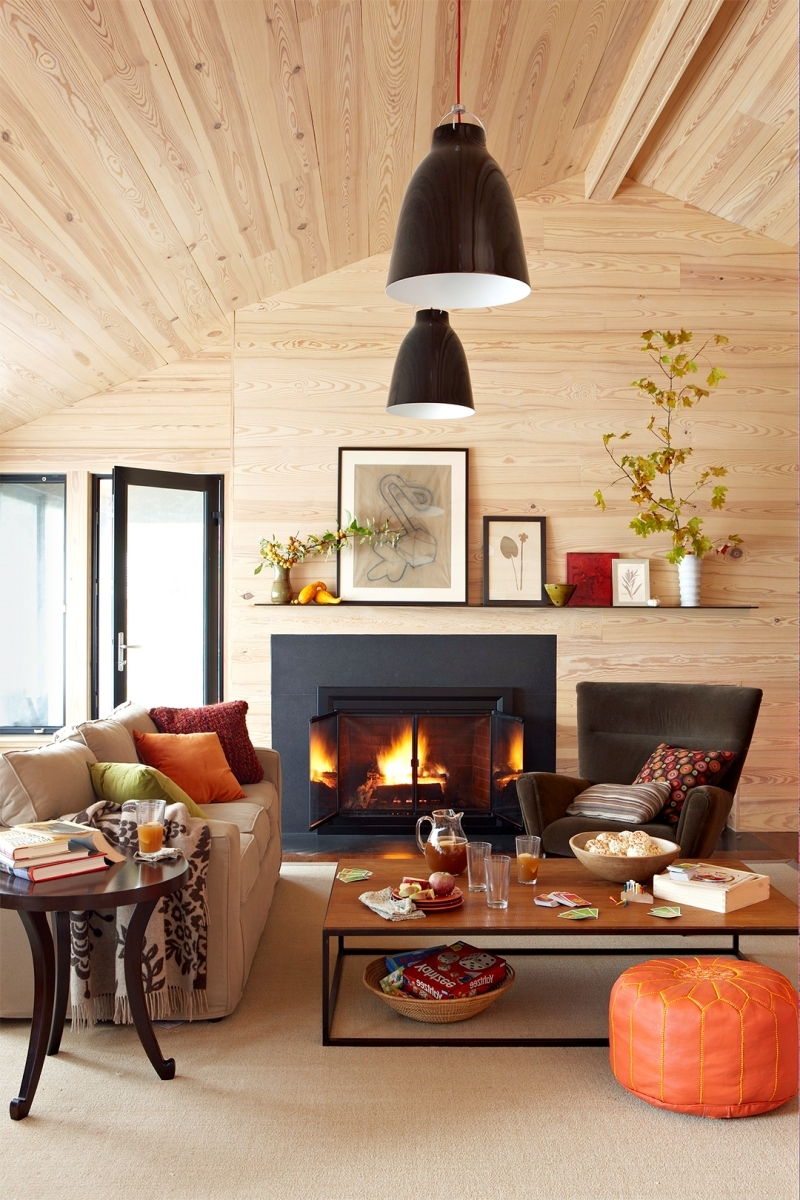 salon chaleureux et accueillant cheminée noir mat lampe suspendue noire