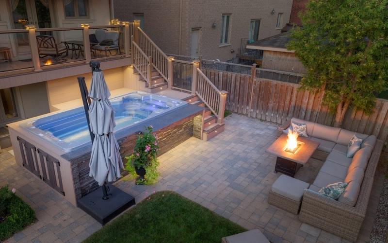spa maison éclairage feu jardin meuble salon extérieur