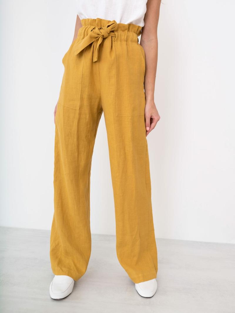 style vestimentaire ado fille 2021 pantalons jaunes en lin pour ado