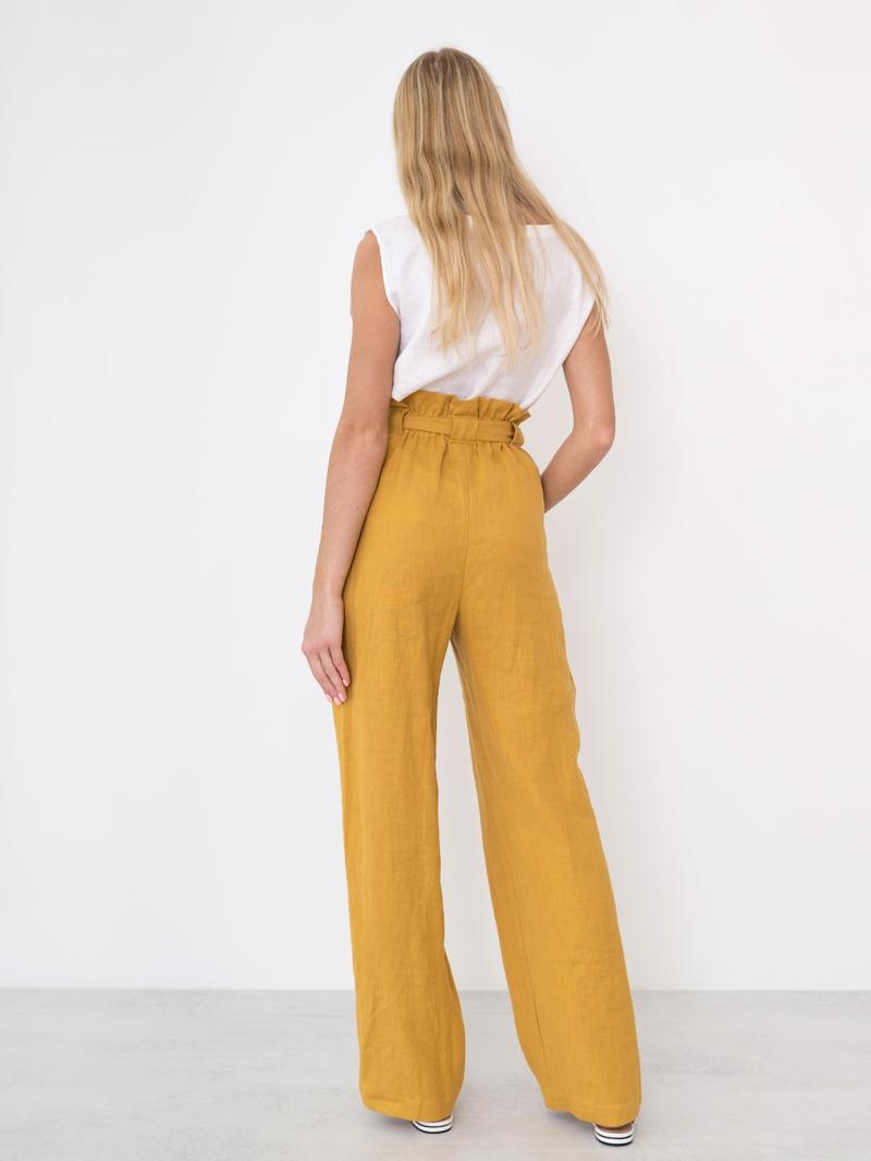 style vestimentaire ado fille 2021 pantalons jaunes en lin très stylés