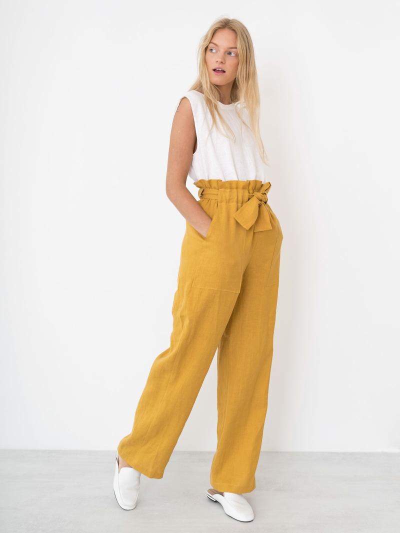 style vestimentaire ado fille 2021 pantalons jaunes en lin