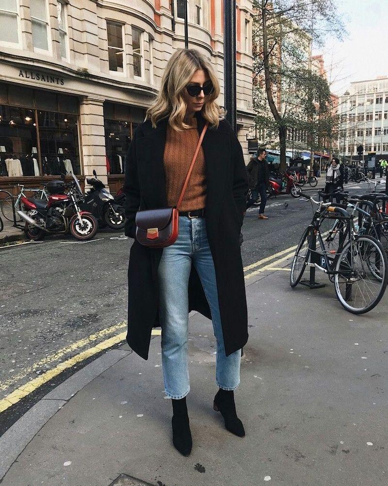 tenue d automne manteau et bottines en noir top caramel leans bleus