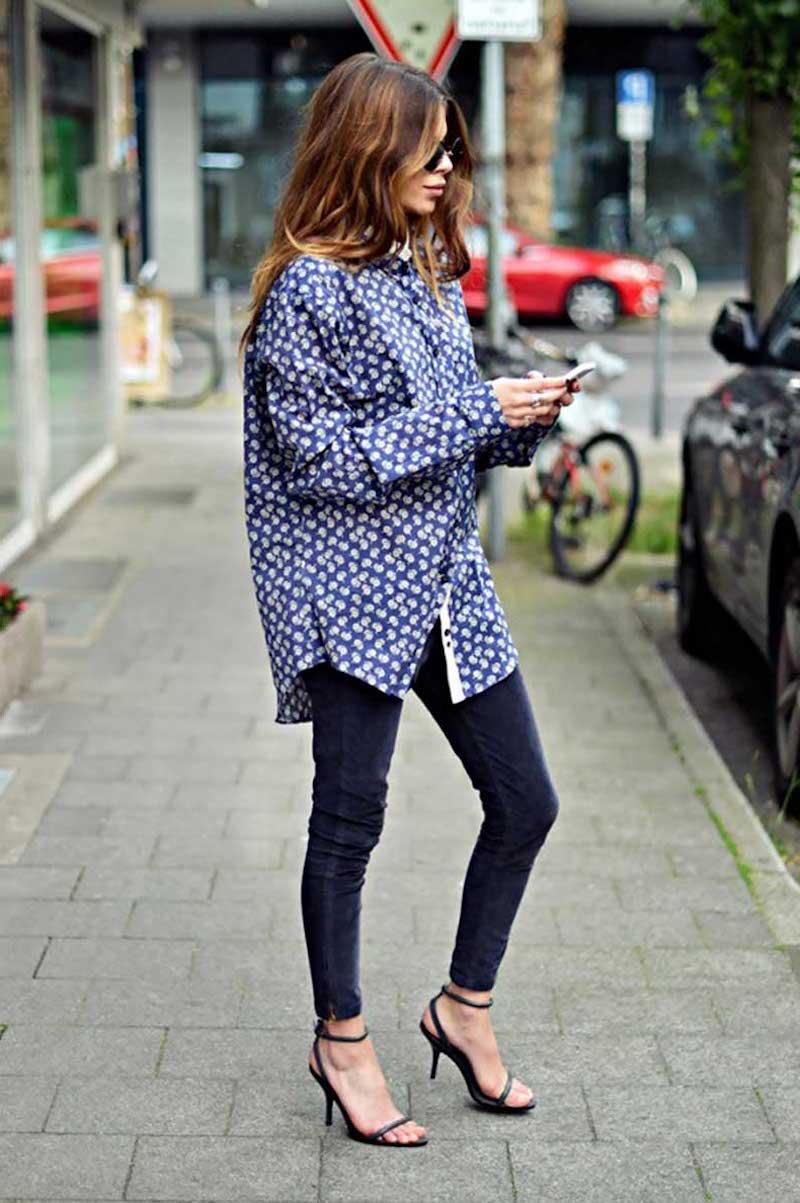 trouver son style vestimentaire femme au pantalon et chemisier bleus