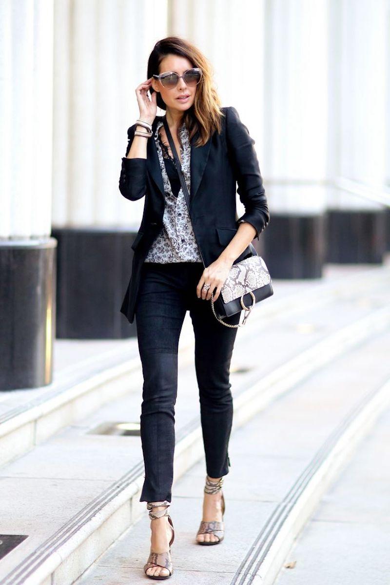 trouver son style vestimentaire pantalon et blazer noirs sandales