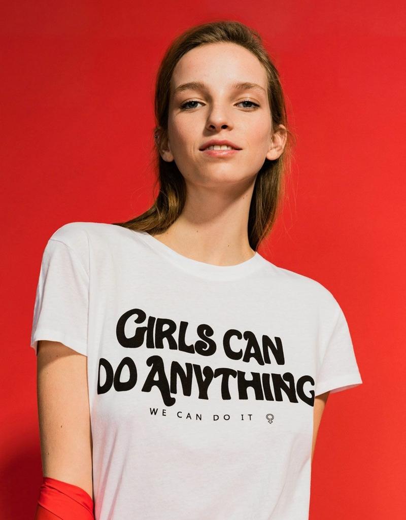 vetement ado fille stylé t shirt avec une graphique originale sur la force des filles