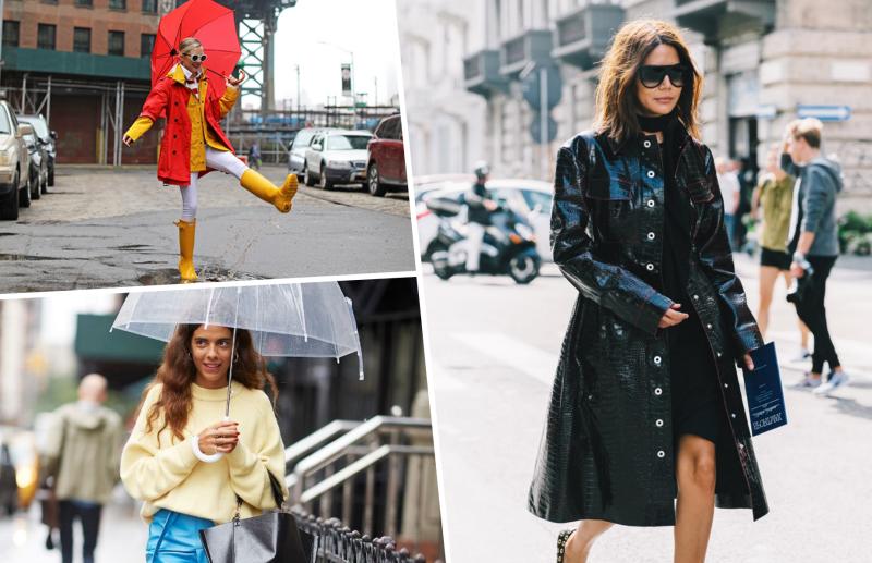 bottes pluie jaune ciré femme robe noire look automne pluie