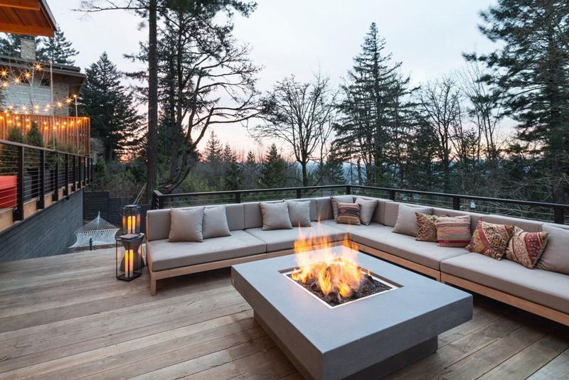 brasero terrasse bois design modern extérieur canapé d angle coussins
