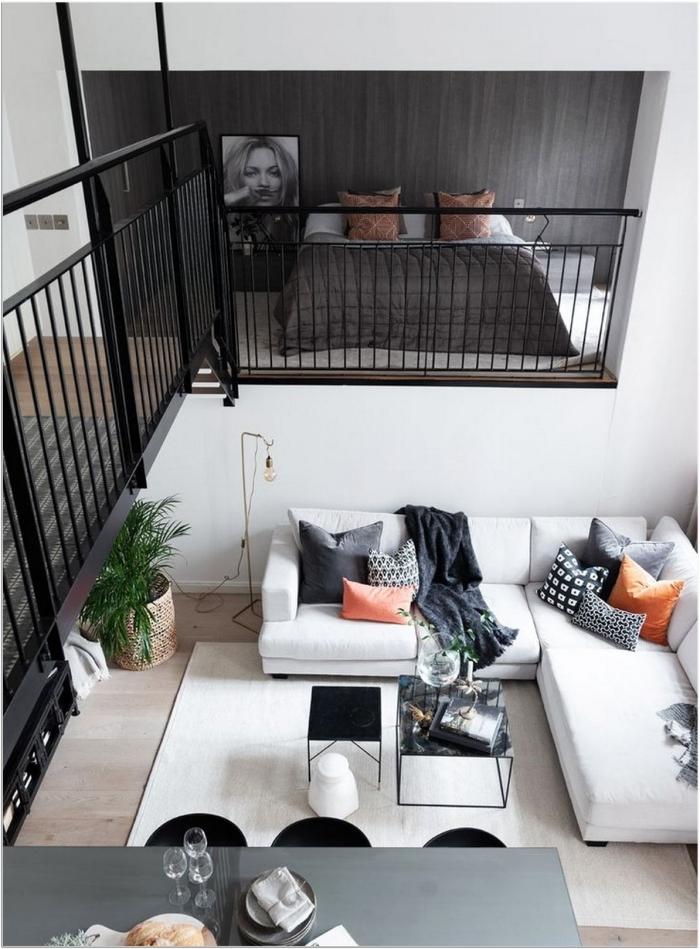 canapé d angle chambre minimaliste aménagement studio 25m2 lit