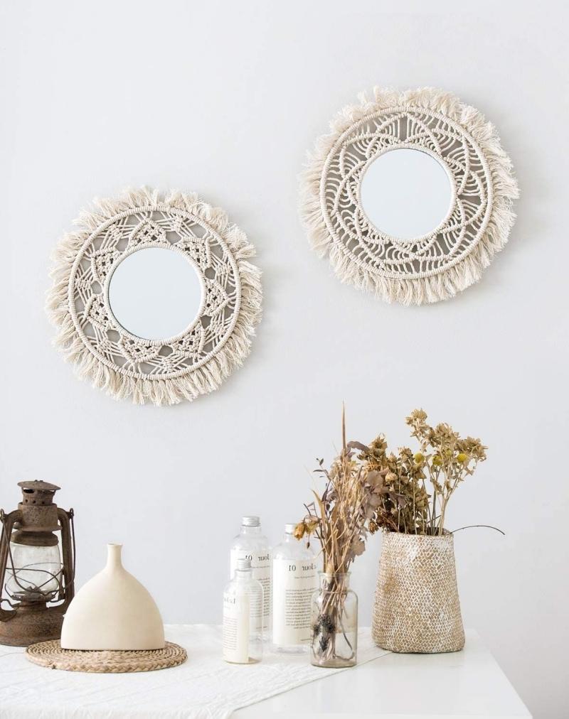 comment décorer un miroir sans cadre corde macramé création