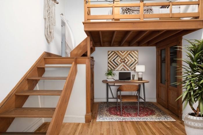 conseils construire une mezzanine bois escalier macramé suspension