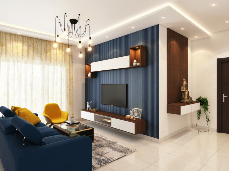 couleur tendance 2021 peinture mur en bleu foncé en contraste avec mur en blanc plancher en beige