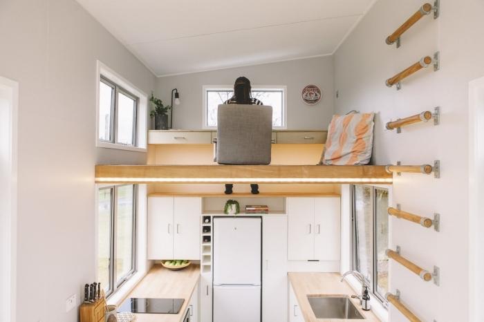 déco bureau a domicile mezzanine pour petit espace cuisine parallele