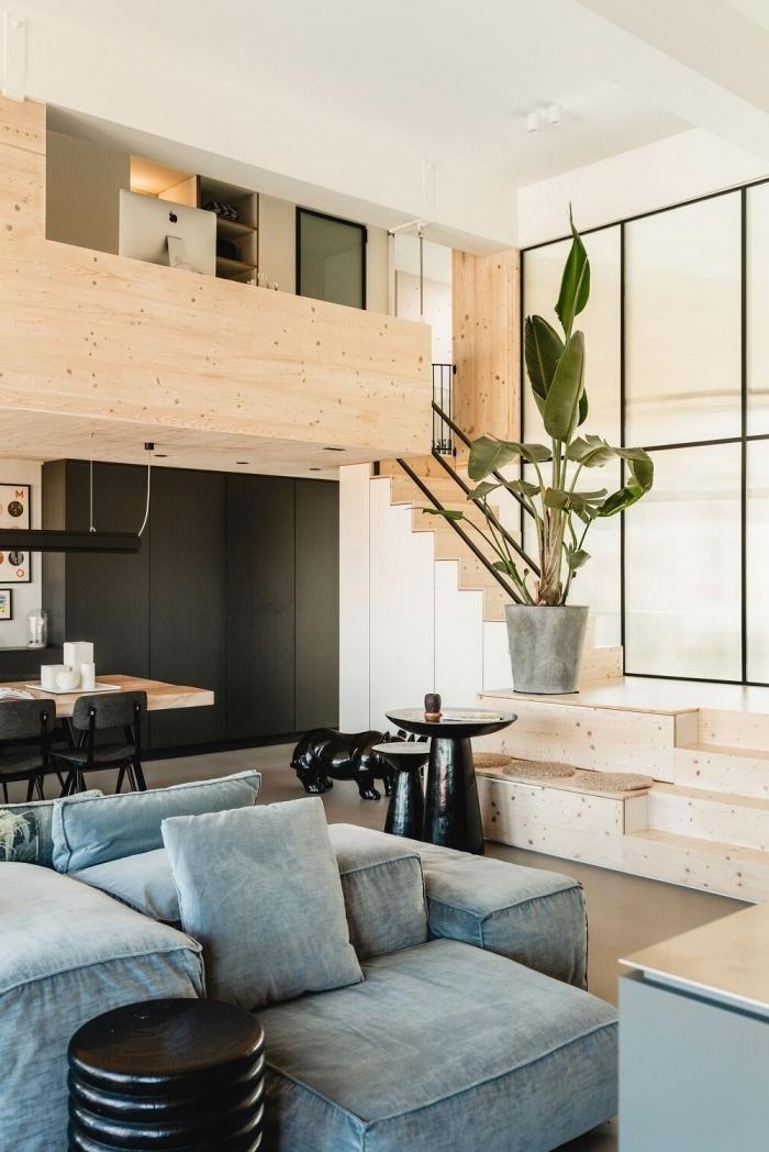 décoration mezzanine bois télétravail coin bureau domicile escalier bois