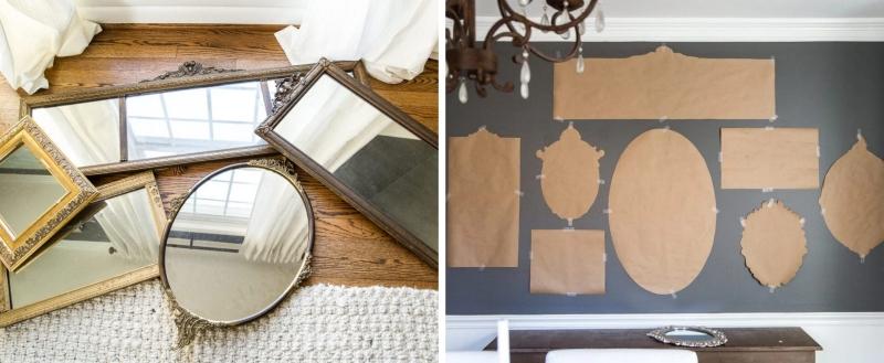 deco avec cadres miroirs gabarit carton mur pattern disposition miroirs